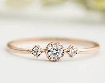 14k rose gold simple three stone diamond ring, 14k solid rose gold engagement ring, dainty rose gold engagement ring, three stone ring