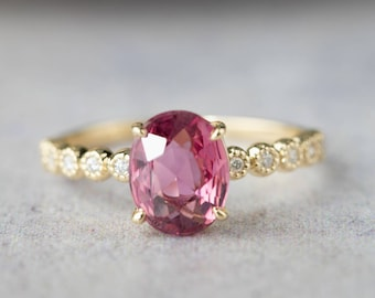 14k gold large pink tourmaline alternative engagement ring, unique oval pink tourmaline diamond engagement ring, RTS