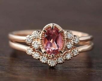 Unique pink tourmaline engagement ring antique inspired diamond wedding ring set 14k rose gold, October birthstone