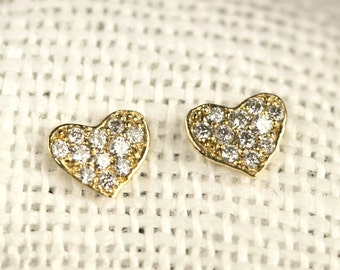 fe80e7f79 SALE 10% Pave Diamond Heart Earrings, heart studs, clustered diamond heart  earrings, 14k solid gold, rose gold, white gold, petite heart
