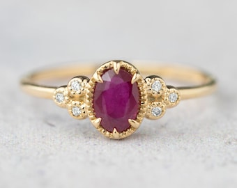 Oval ruby and diamond engagement ring, Genuine ruby alternative engagement ring, unique engagement ring, 14k gold, rose gold, white gold