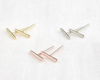 fbf1829ccfbb0 Simple flat bar studs earrings 14k solid gold rose gold | Etsy