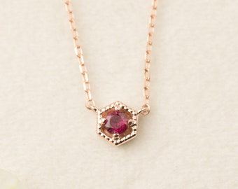 14k gold ruby necklace, genuine ruby floating necklace, tiny necklace, hexagon necklace, rose gold, white gold, dainty ruby necklace