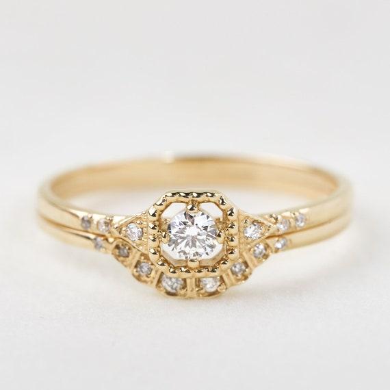 Bridal Set Art Deco Inspired Diamond Engagement Ring Set Etsy