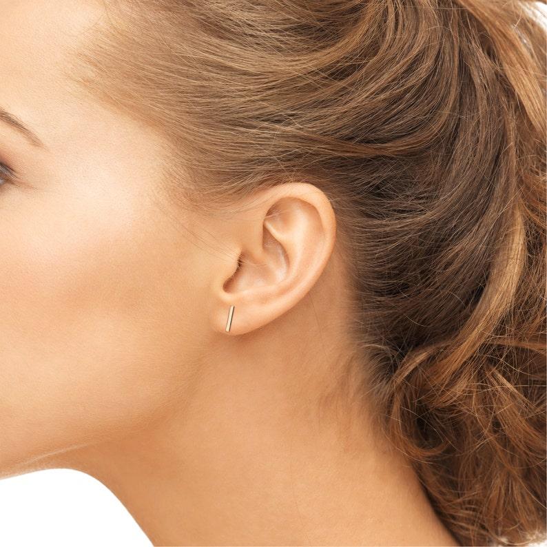 5ce66a5dd10d0 Simple flat bar studs earrings 14k solid gold, rose gold, white gold, flat  bar earrings, small flat bar studs, minimalist short gold earring