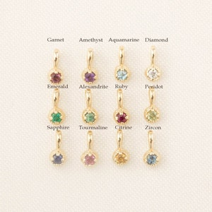 Birthstone charm add-on rose gold Recycled Gold 1.5mm genuine birthstone charm for personalized necklace 14k yellow gold white gold