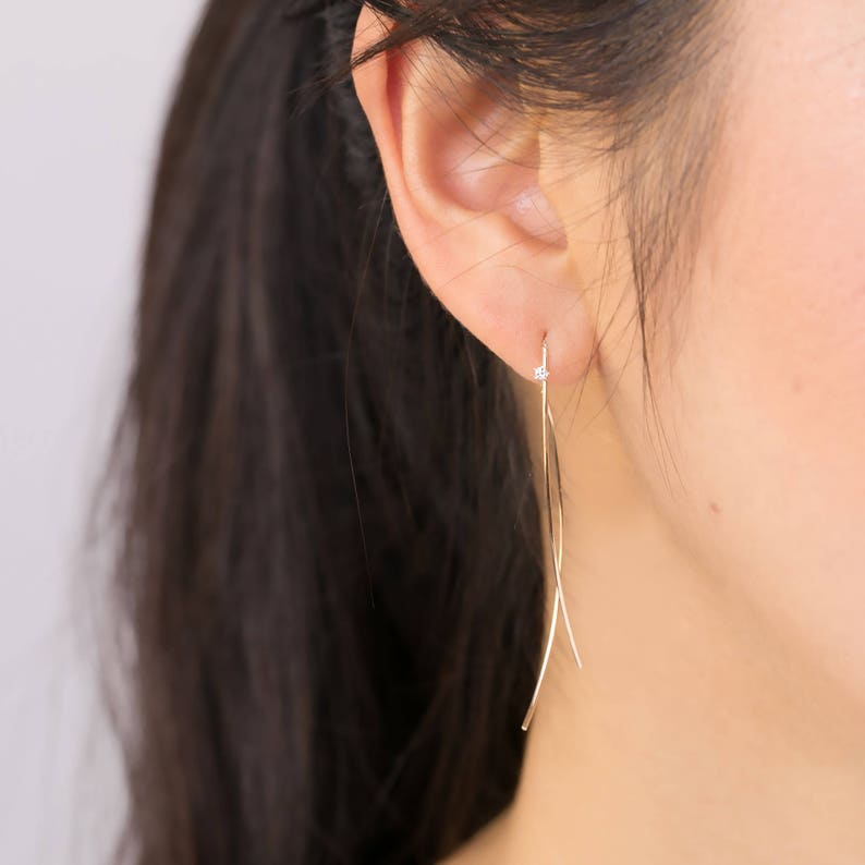 540fa5801 Curved bar threader earring with diamond 14k white gold rose   Etsy