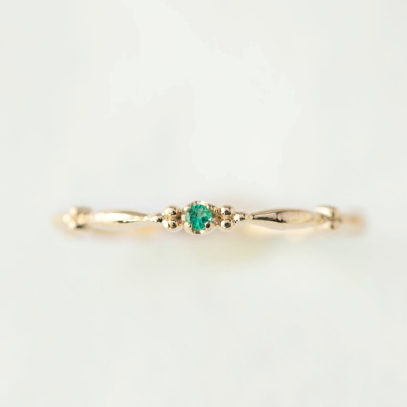 e934f17de Tiny emerald solitaire ring emerald stacking rings 14k   Etsy