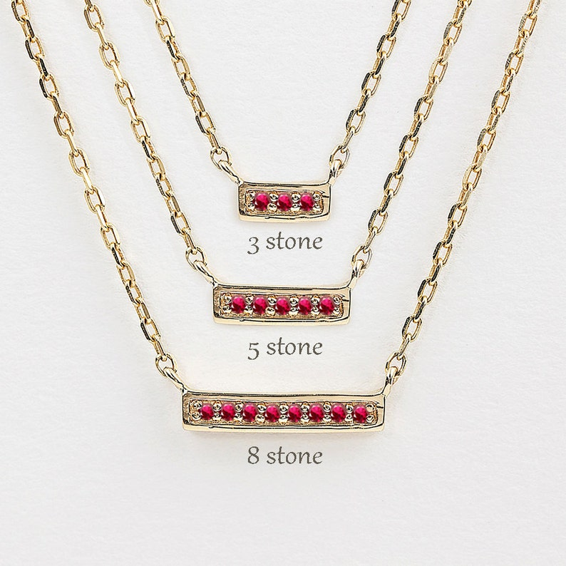 1a688c293ea33 Natural ruby bar necklace, 14k gold, rose gold, white gold, mini bar  necklace, dainty bar necklace, mothers day, valentines day