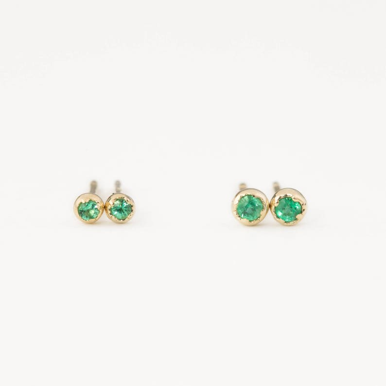 8119d0291b98c Emerald stud earrings, genuine emerald stud earrings small emerald studs  May birthstone studs earring, 14k solid gold, rose gold, white gold
