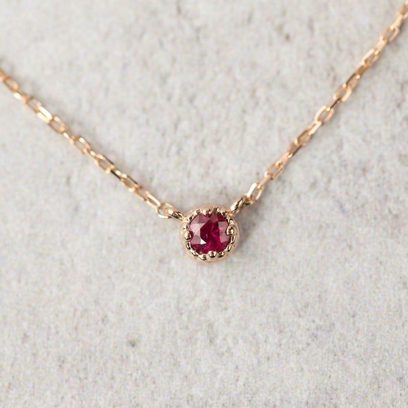872baeaec32dc Round ruby necklace, 14k rose gold ruby charm necklace, Ruby July  birthstone, Ruby solitaire necklace, Simple ruby necklace, Small ruby