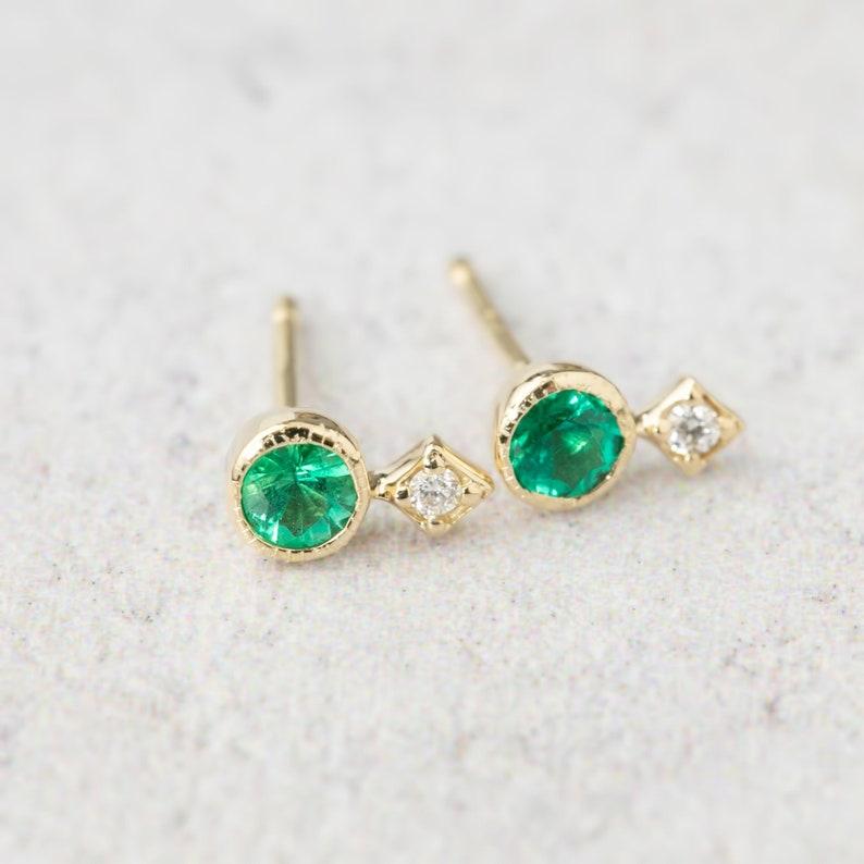 6229b3589 Emerald and diamond studs earrings May birthstone jewelry | Etsy