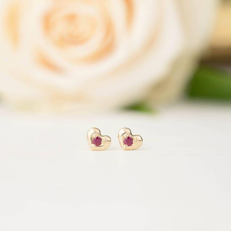 be59cc5e5 SALE30% Ruby Heart stud earrings 14k yellow gold rose   Etsy