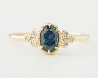 Teal Blue Montana Sapphire, Montana Sapphire engagement ring, Solid 14k gold, Vintage inspired sapphire engagement ring Unique blue sapphire