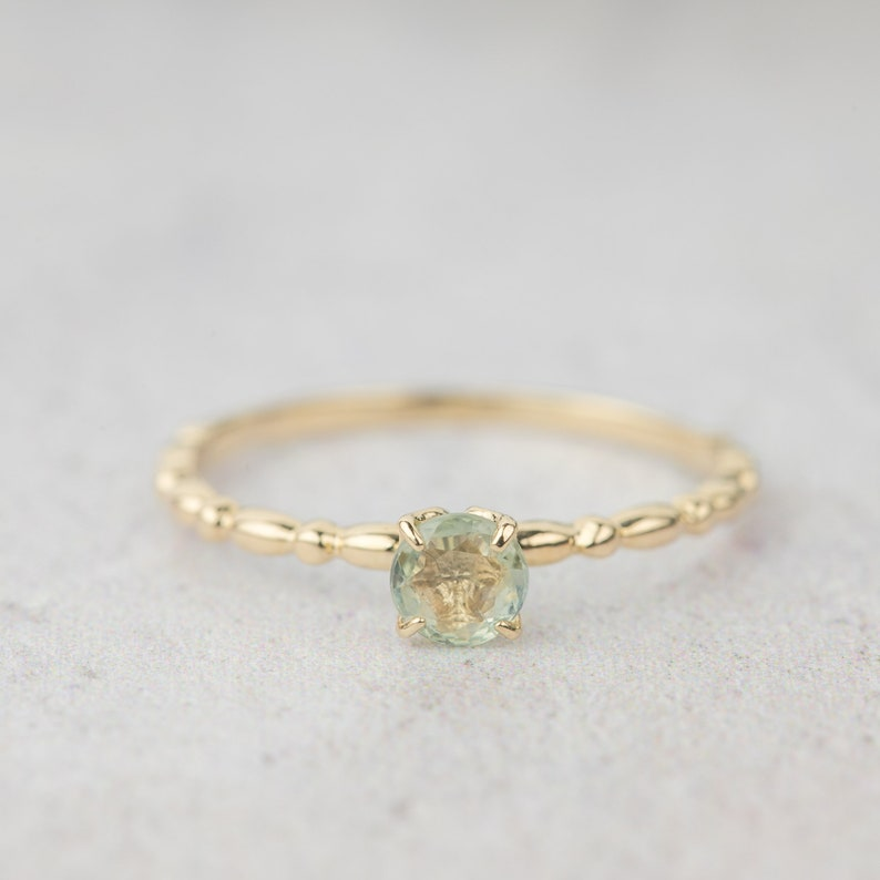 delicate stacking ring, 14k yellow gold natural unheated blue green lavender pink peach yellow sapphire solitaire engagement ring