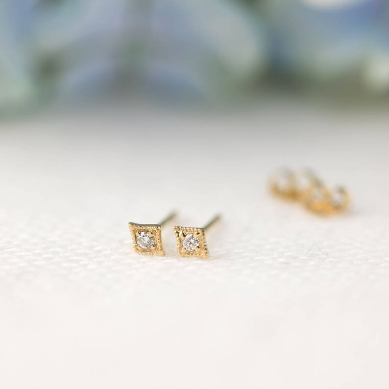 white gold yellow gold small dainty diamond studs Star stud earrings 14k rose gold tiny white diamonds star earring Small diamond studs