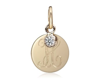 Gold initial disc charm with diamond, personalized initial charm, round disc pendant, diamond charm, 14k yellow gold, rose gold, white gold