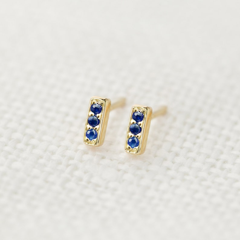 e7a590a68 Sale30% Blue sapphire pave bar studs earrings 14k solid | Etsy