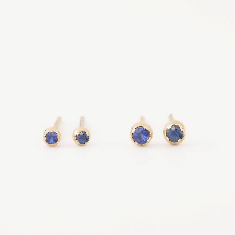 4f68801f4 Blue sapphire stud earrings Simple tiny blue sapphire studs   Etsy