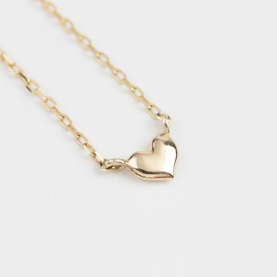 18eb302f347b 14k Gold Heart Necklace Valentine s Day gift Tiny heart
