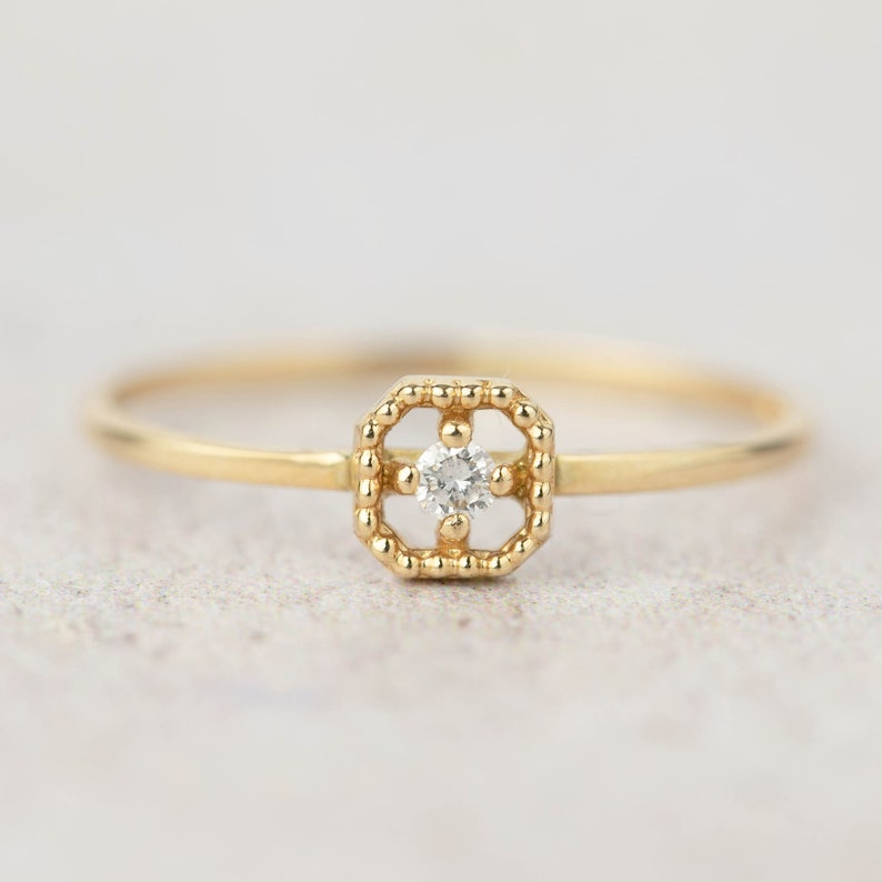56821369d0443 Small diamond simple engagement ring, tiny diamond ring, dainty diamond  stacking ring, square ring, 14k yellow gold, rose gold, white gold