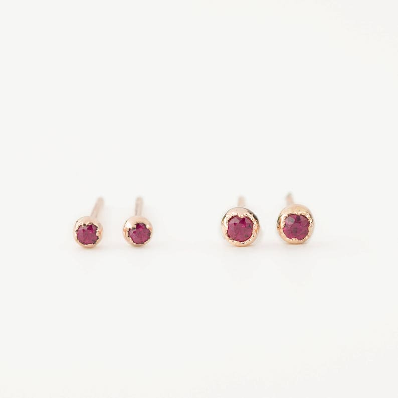 4031078452 14k rose gold tiny ruby stud earrings, dainty ruby stud, genuine ruby,  1.5mm, 2mm, july birthstone, gold, white gold