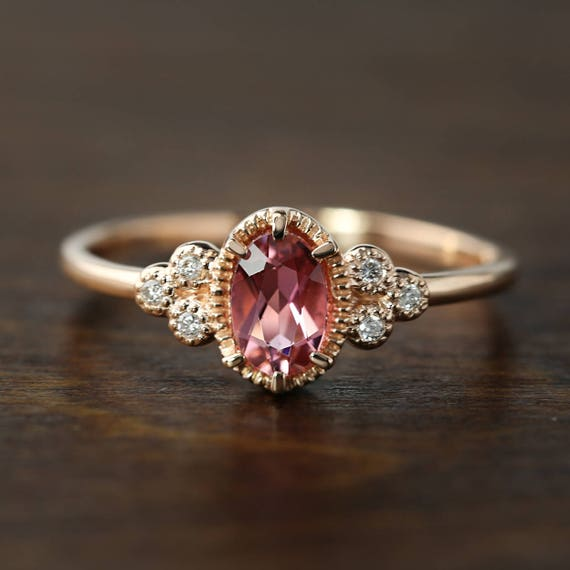14k Rose Gold Pink Tourmaline Diamond Ring Oval Pink Etsy