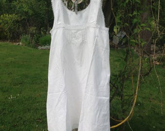 "Pretty Monogrammed French Vintage Cotton/Linen  Night Gown. White Metis with Fine Crochet Trim. White  Simplicity, Style. Size 36""/38"""