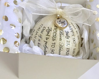 90th Birthday Gift Personalized Ornaments For Men Women Milestone Birthdays 40th 50th 60th 70th 80th 100th