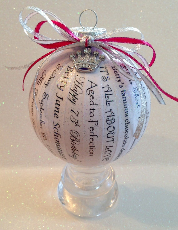 75th Birthday Gift Unique Personalized Memory Ornament For