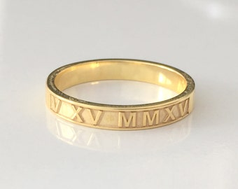 124d0c32a Roman Numeral Ring-Thin Gold Ring-14K Gold Filled Engraved Ring- Gold Date  Ring - personalized ring - roman numeral ring- Mothers Gift