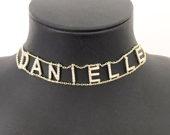 Choker Necklace - Personalized Choker Necklace - Custom Name Choker - Name Plate Choker - Gold Name Necklace - Name Necklace - Name Choker