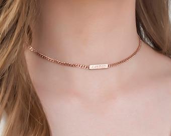 Personalized Choker Necklace, Dainty Choker Gold, Personalized Name Plate, Choker With Name , Bridesmaid Gift , Choker Necklace