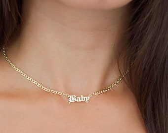 57e077ecc Gold Name Necklace - Gothic Mini Choker Nameplate Necklace - Gold Name  Necklace - Personalized Necklace - Custom Name Necklace - Gift