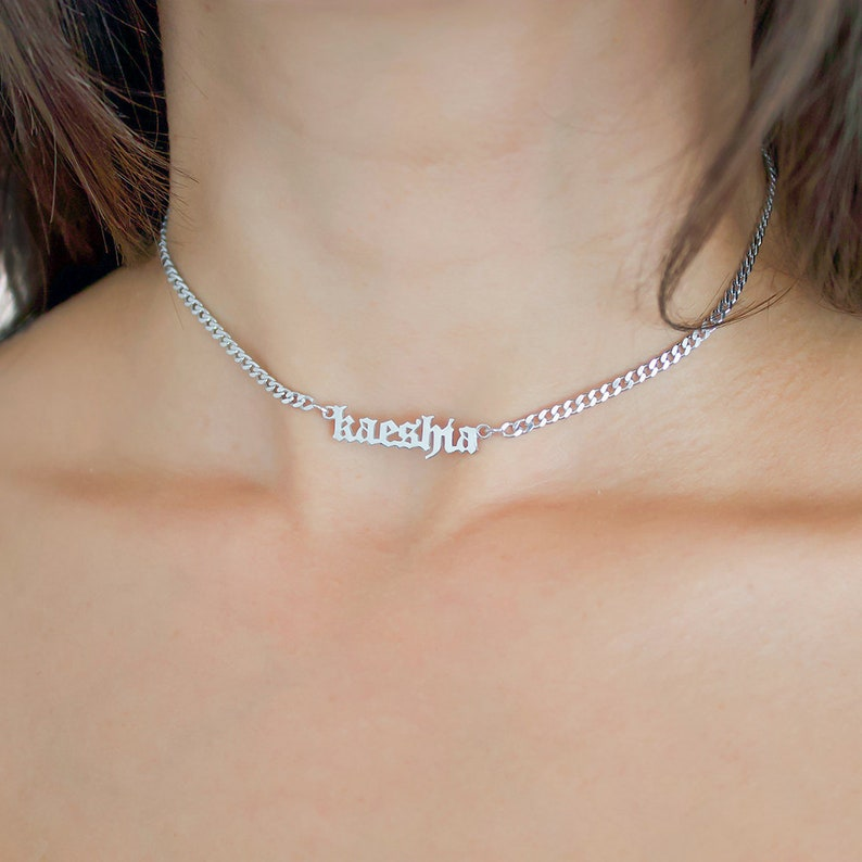 6a7a777d5eef7 Silver Name Necklace - Gothic Mini Choker Nameplate Necklace - Gold Name  Necklace - Personalized Jewelry - Custom Name Necklace - Gift