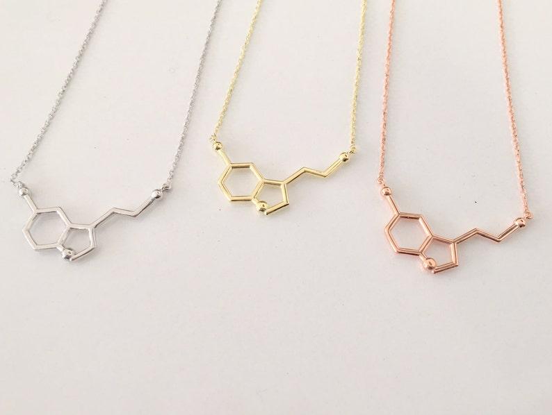 Rose Gold Serotonin Molecule Necklace ~ 14K Gold Pendant Serotonin Molecule Necklace ~ Chemistry Necklace ~ Birthday Gift ~ Christmas gift