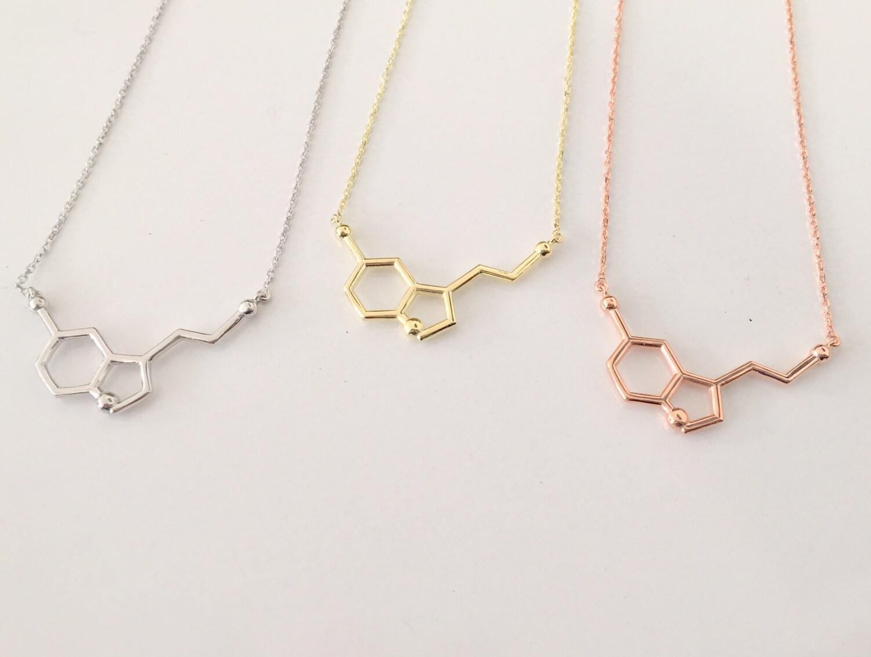 fe372533e8610 Rose Gold Serotonin Molecule Necklace ~ 14K Gold Pendant Serotonin Molecule  Necklace ~ Chemistry Necklace ~ Birthday Gift ~ Christmas gift
