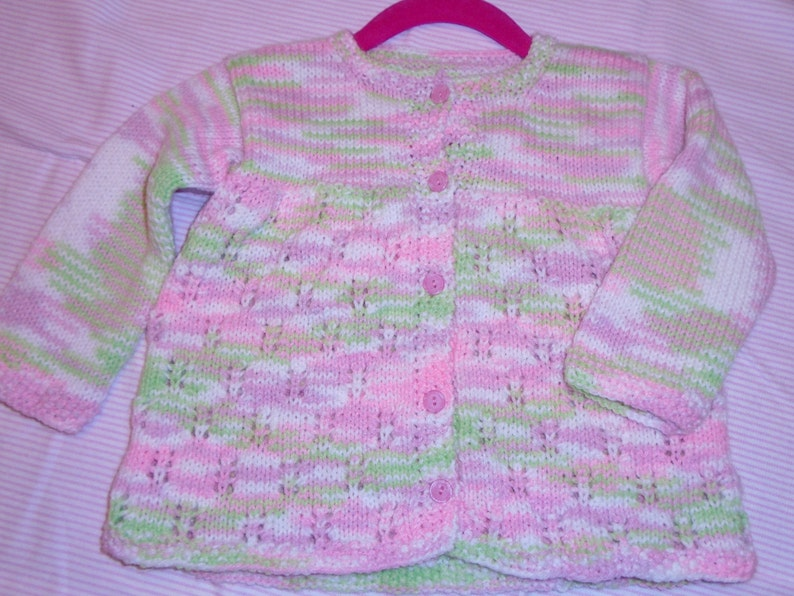Pink /& Green Sweater18-24 MonthBaby GiftHand Knit