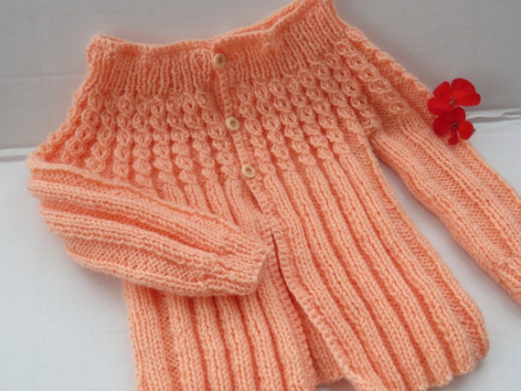 b840d1457 Creamsicle Peach Baby Sweater Hand Knit Size 1 Baby Gift