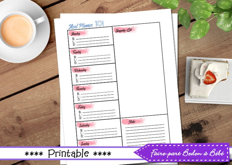 Digital printable Meal planner and grocery list