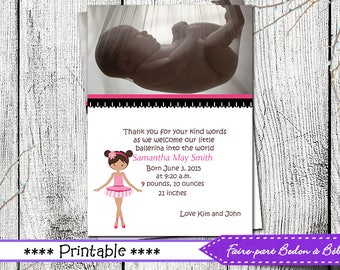 Ballerina birth announcement - Printable Photo Birth Announcement - ballerina - Digital printable file