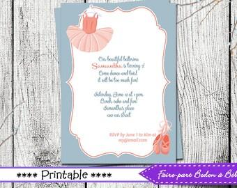 Personalized  Ballerina Birthday party invitations  - Digital printable file