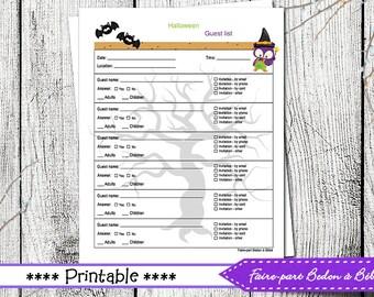Halloween Party Planner - Printable Halloween Guest List - Halloween party - Printable Guest List - Guest List - Halloween