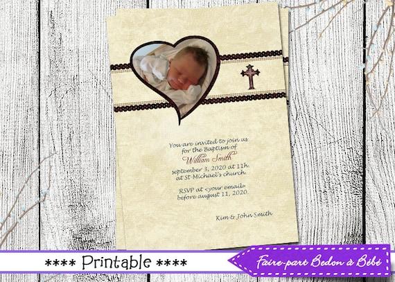 Neutral Baptism Invitation - Digital printable