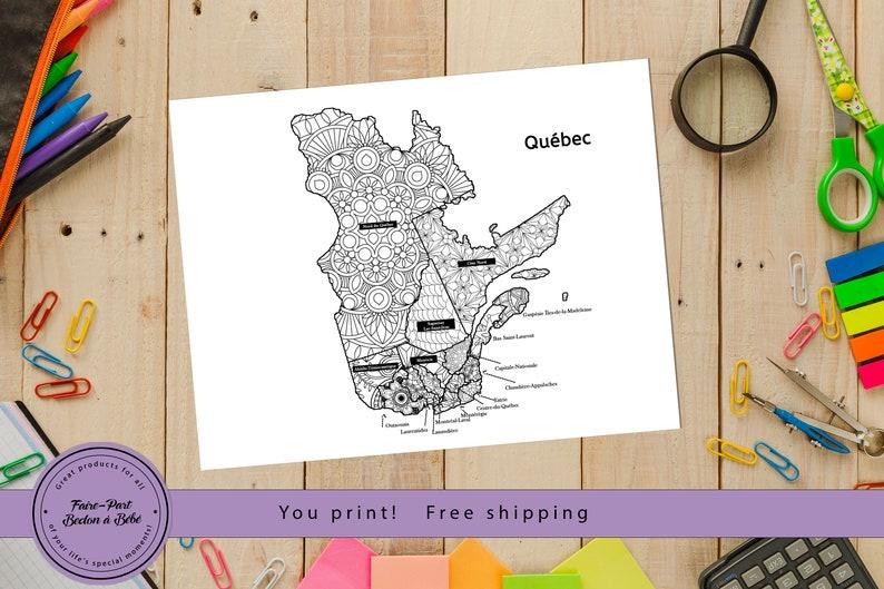 Digital printable Coloring Quebec Sales Map