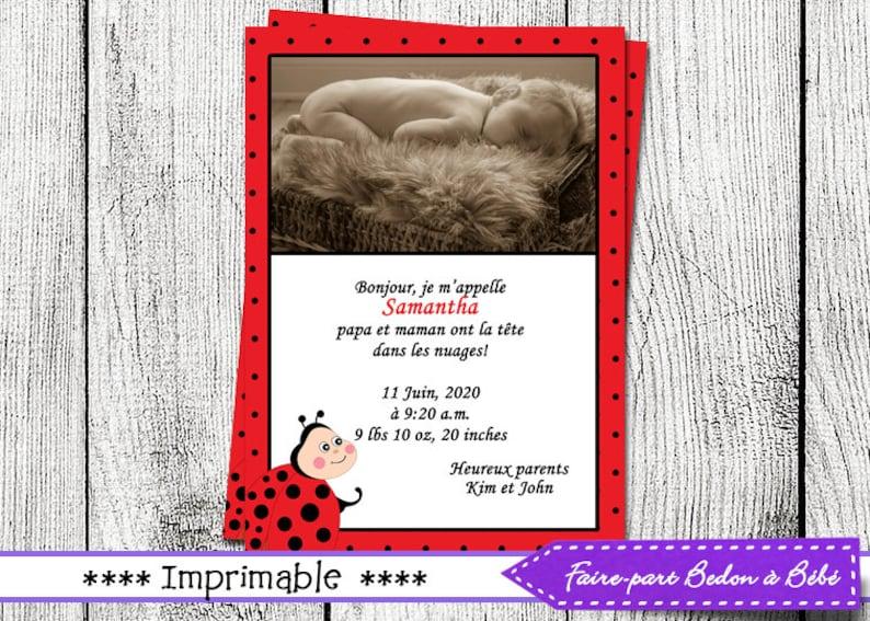 Thank you card Birth Announcement Ladybug