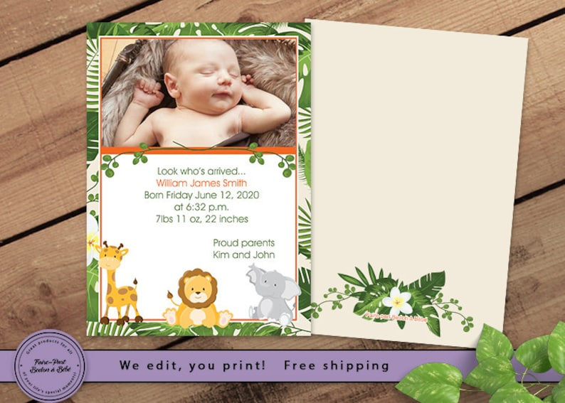 Birth Announcement Jungle Digital printable