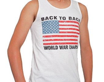 1491922a Back To Back World War Champs Champions Flag Tank Top S-3XL White