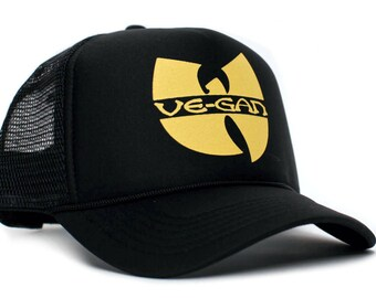 007a7a1a899 Vegan Vegetarian Custom Printed Black Truckers Hat Cap Adult- Adjustable