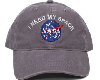 NASA I Need My Space Pigment Dye Embroidered Hat Cap Unisex Adult Gray ae6bb5f6a12f